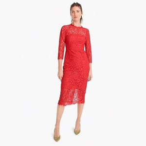 J.Crew Long Sleeve Lace Sheath Dress In Red Size 1